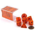 Chessex Chessex 7-Set Dice: Vortex - Orange/Black 27433