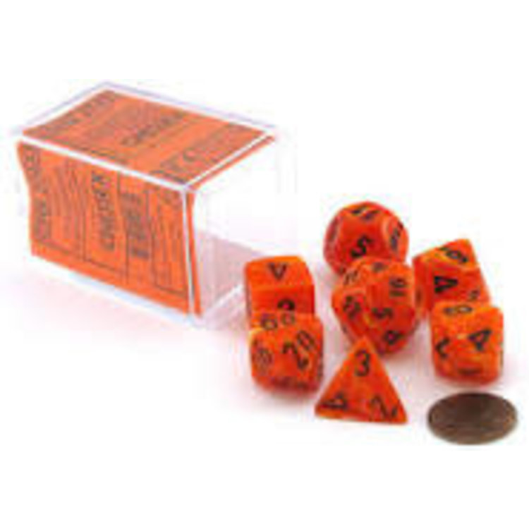 Chessex Chessex 7-Set Dice: Vortex - Orange/Black 27433