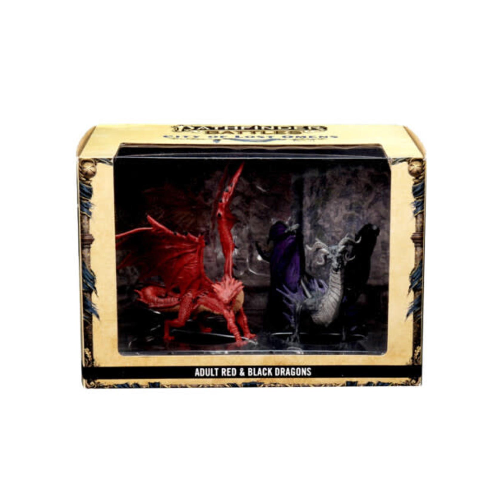 WizKids Pathfinder Battles Prepainted Miniatures: City of Lost Omens Adult Red & Black Dragons