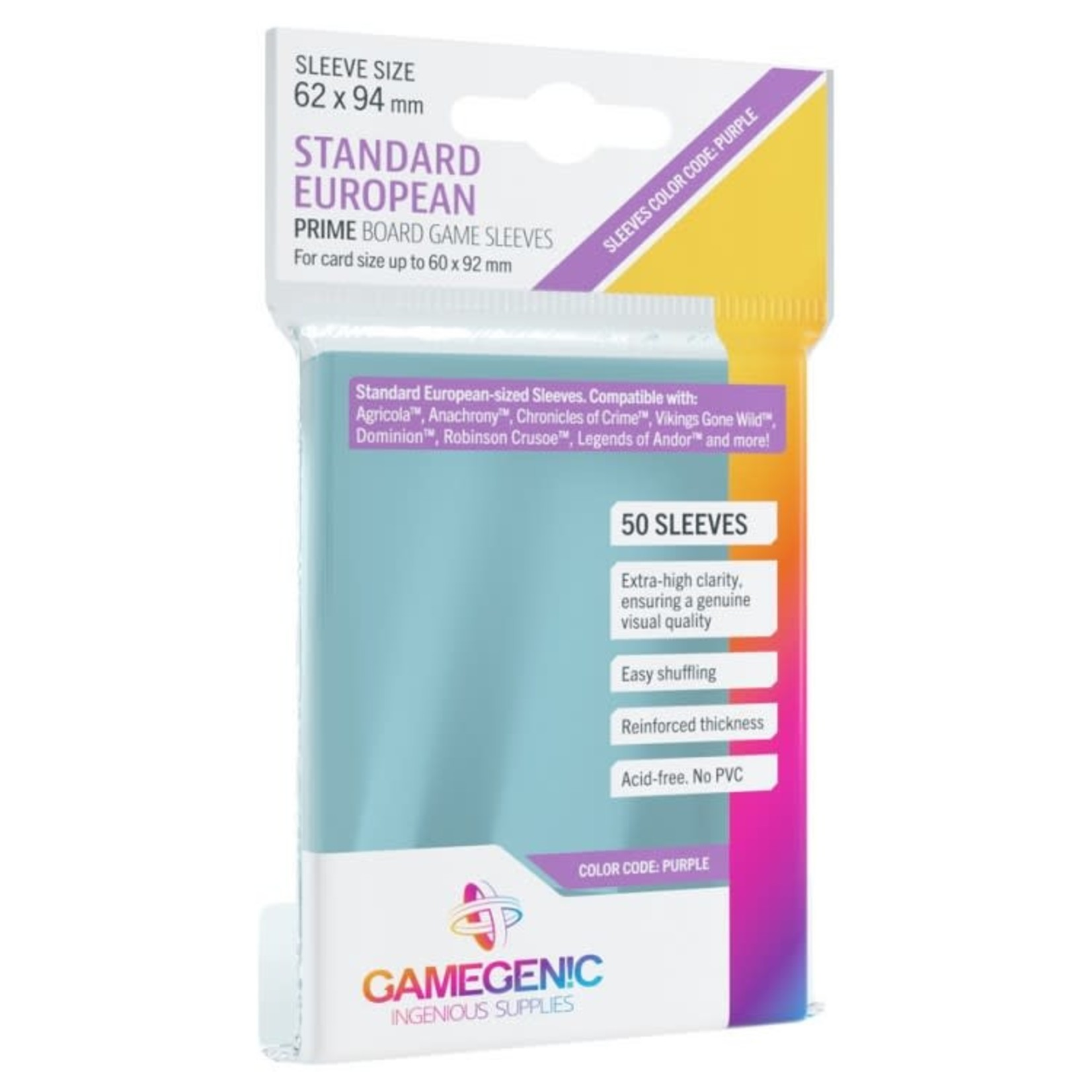 Gamegenic Gamegenic Sleeves: Standard European PRIME - 50 count (62x94mm)