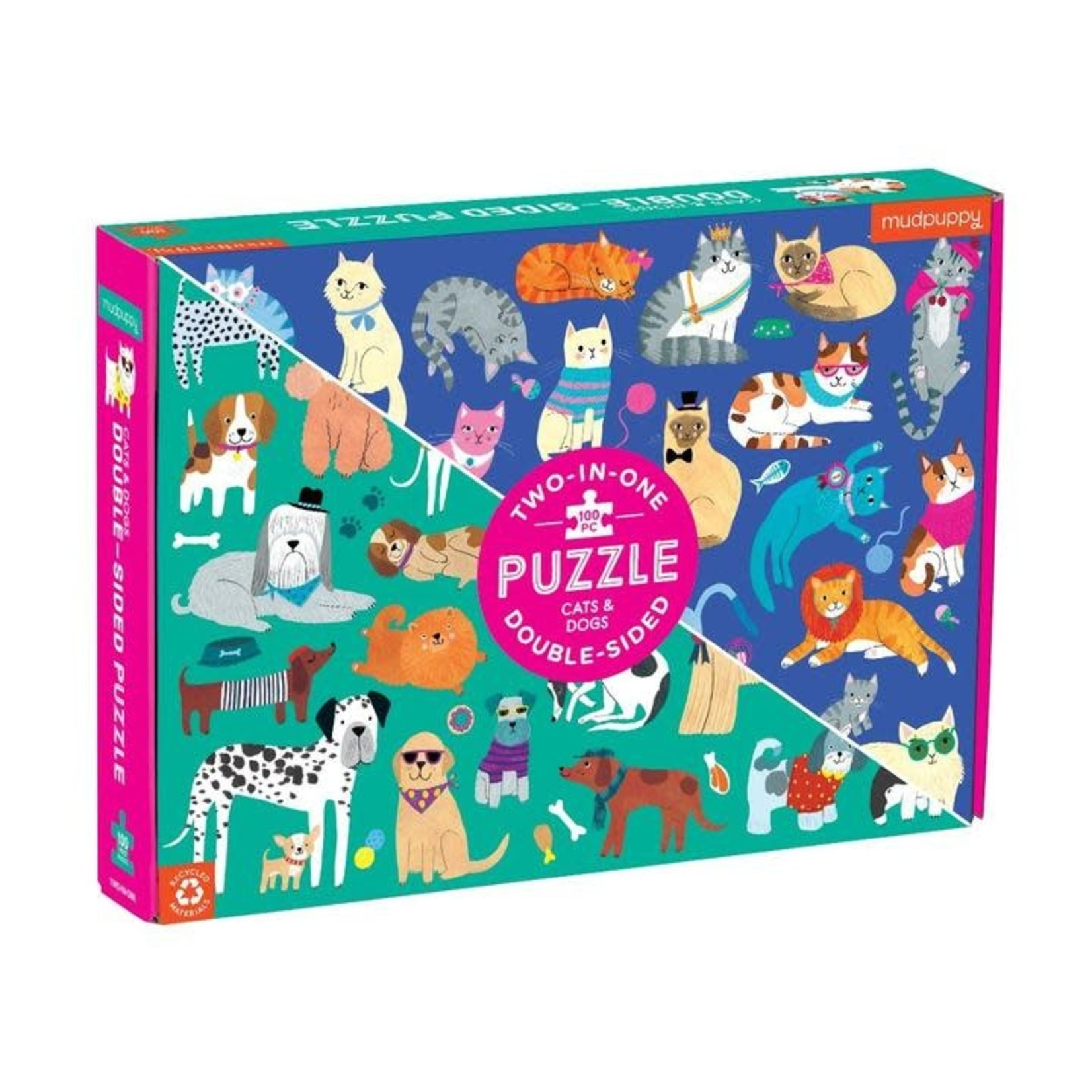 Mudpuppy Mudpuppy: 100 Piece Puzzle - Double-sided: Cats & Dogs