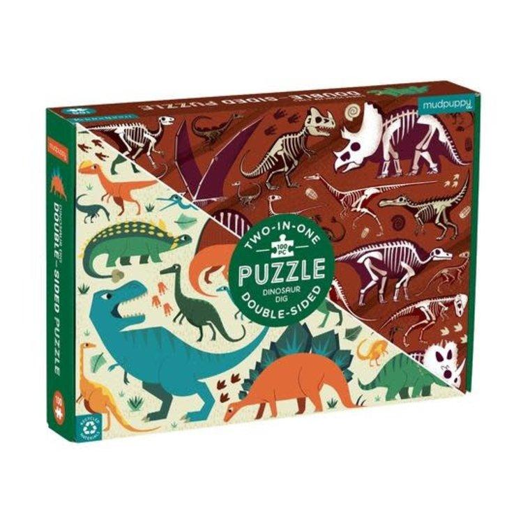 Mudpuppy Mudpuppy double-sided puzzle: Dinosaur Dig: 100pc