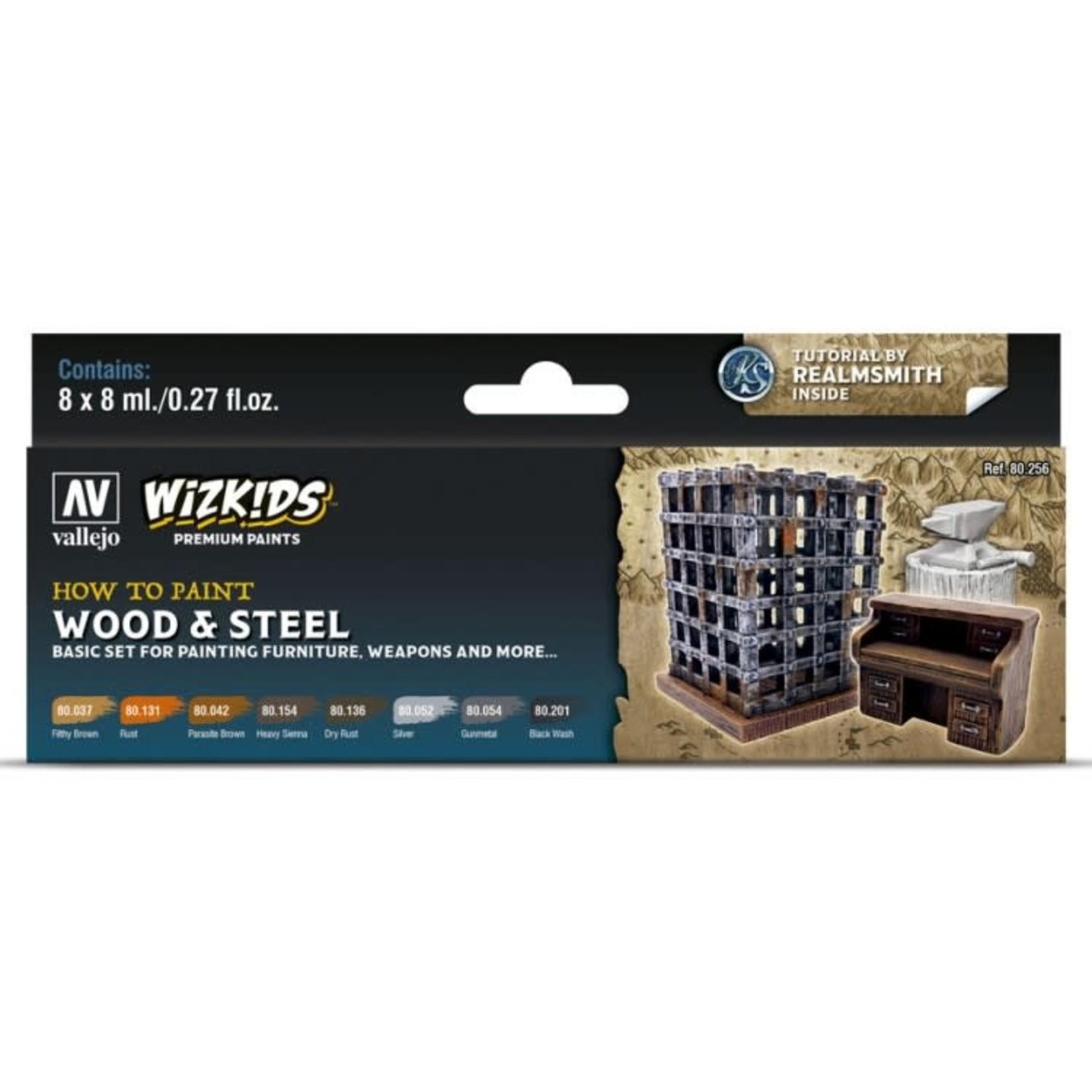 Vallejo Wizkids Paints Set: Wood & Steel (8 colors)