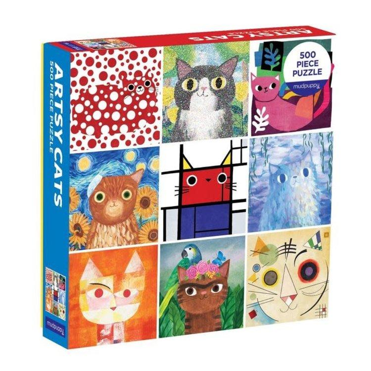 Mudpuppy Mudpuppy - 500 Piece Puzzle: Artsy Cats