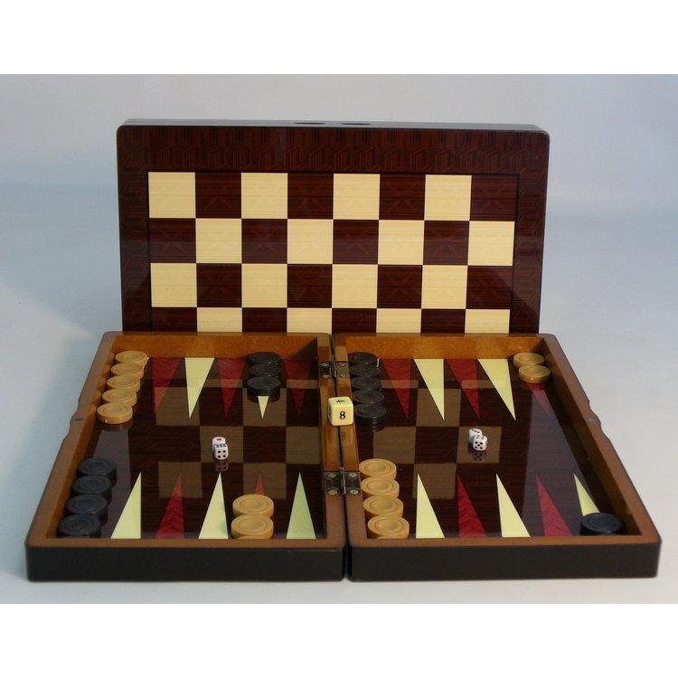 """WorldWise Imports 15"""" Simple Decoupage Wood Folding Backgammon set"""