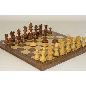 """WorldWise Imports Wood Chess & Checker Set (14"""" board)"""