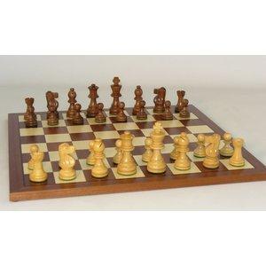 "WorldWise Imports Chess: 3.75"" Sheesham French Chessmen w/ 18"" Maple Walnut Chest"
