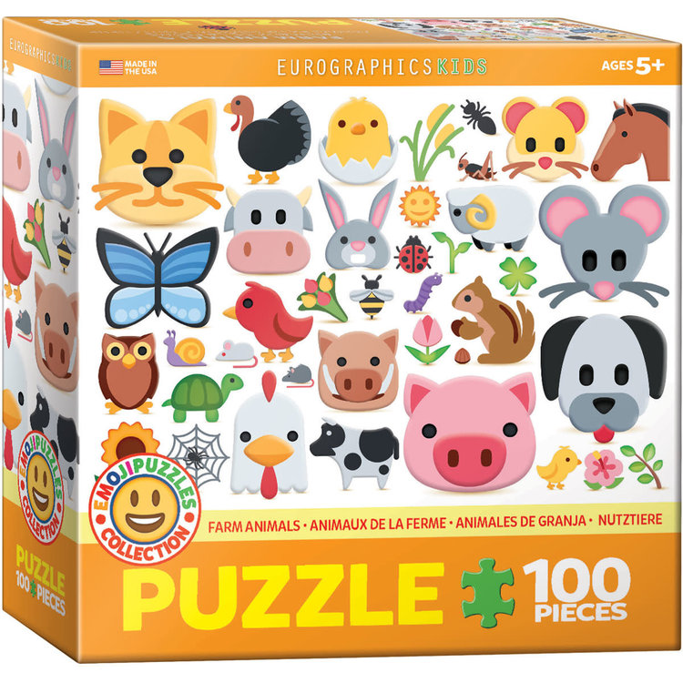 Eurographics Eurographics Puzzle: Emoji Farm Animals - 100pc