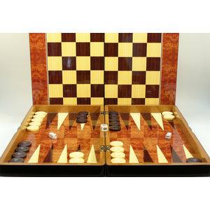 "WorldWise Imports 19"" Burl Wood Style Decoupage Backgammon w/ Chess Board"