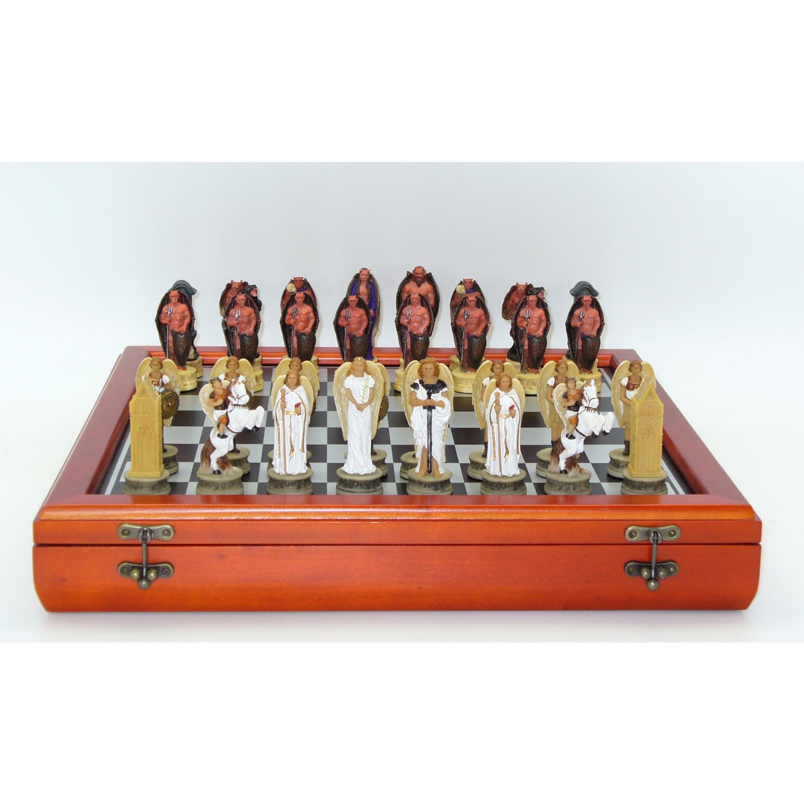WorldWise Imports White Angels & Dark Devils Resin Chessmen on Cherry Stained Chest