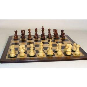 "WorldWise Imports Chess: 3.75"" Sheesham Old Russian Chessmen w/ 17.25"" Ebony Maple Board"