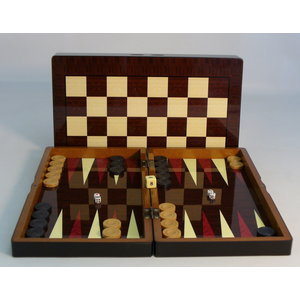 "WorldWise Imports 19"" Simple Decoupage Wood Folding Backgammon w/  3"" Sheesham Chessmen"