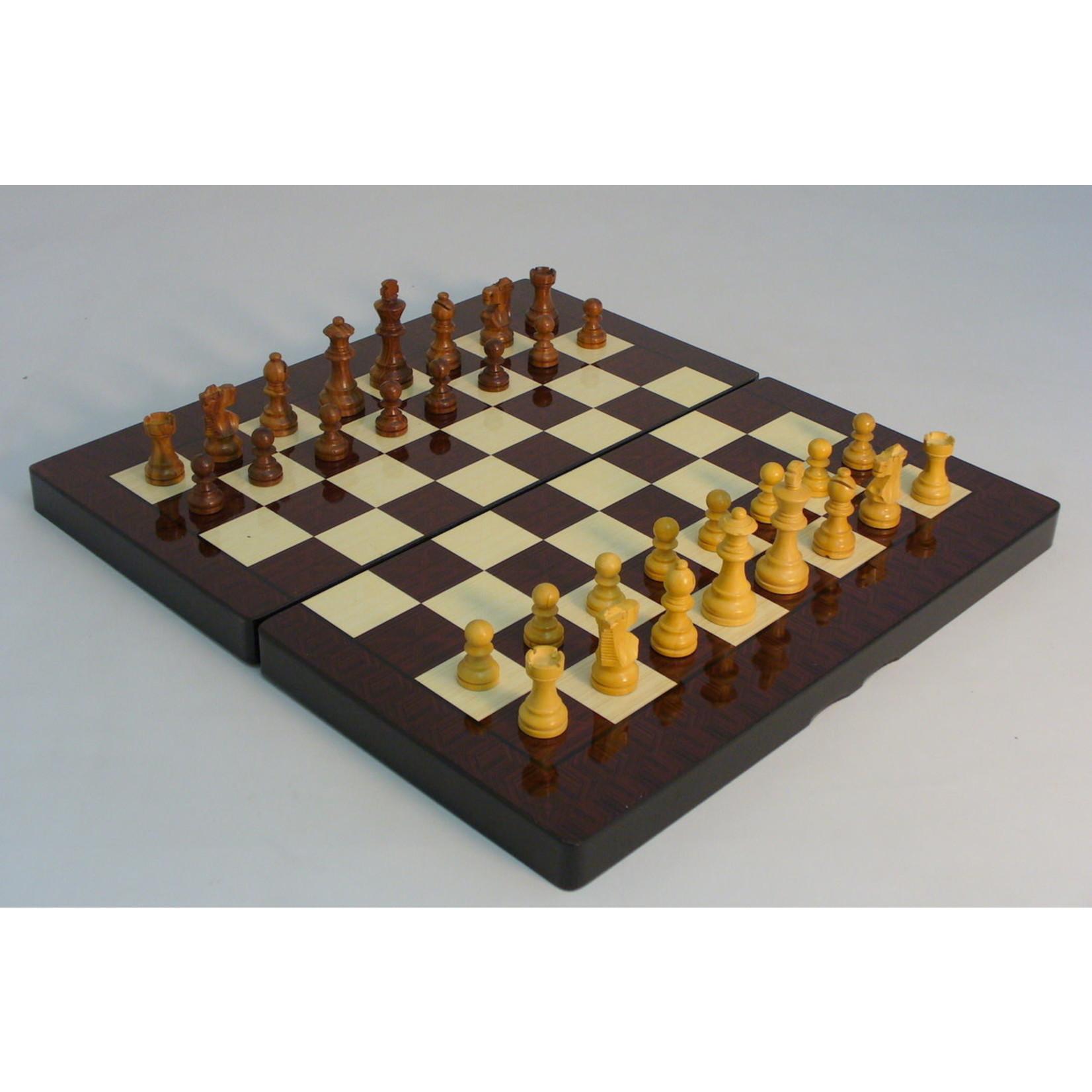 """WorldWise Imports 19"""" Simple Decoupage Wood Folding Backgammon w/  3"""" Sheesham Chessmen"""