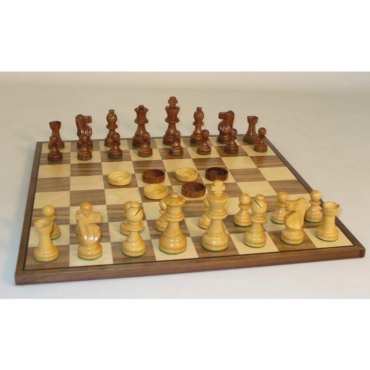 "WorldWise Imports Chess and Checkers Combo : 15"" Maple Walnut Board w/ 3"" Sheesham Chessmen"