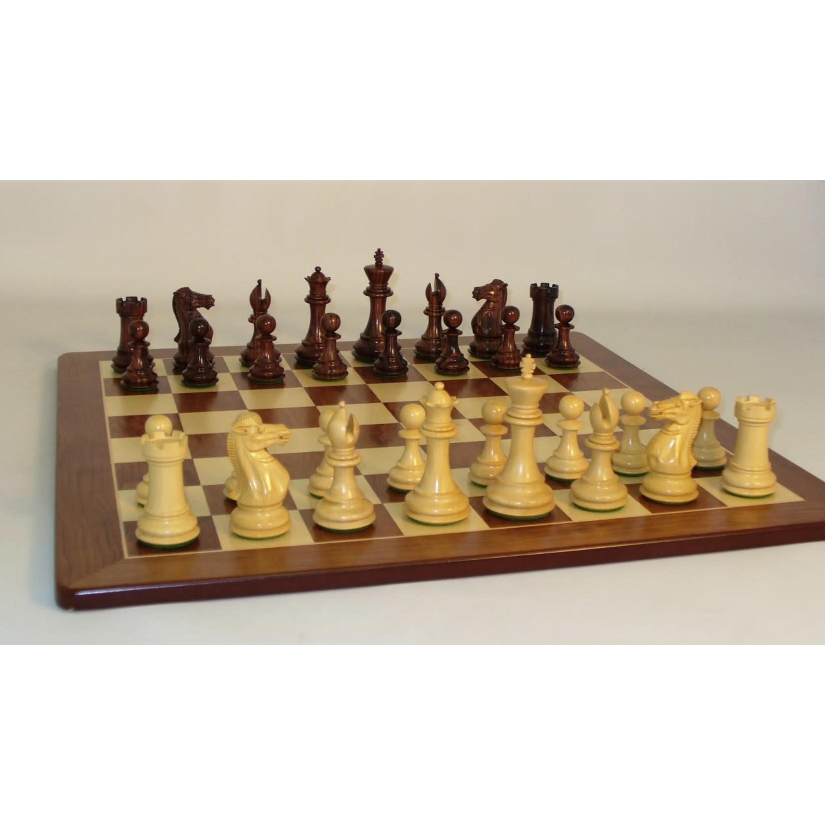 "WorldWise Imports Chess: 4"" Rosewood Exclusive on 20"" Padauk Chess Board"