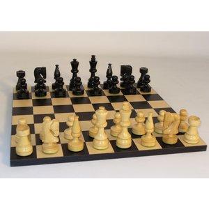 "WorldWise Imports Chess: 3.5"" Black Russian Chessmen 14"" Black/ Maple Board"