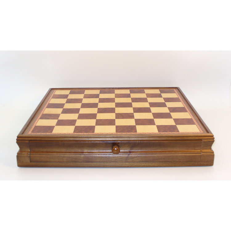 "WorldWise Imports Chess: 15"" Walnut Maple Chest w/ drawer"