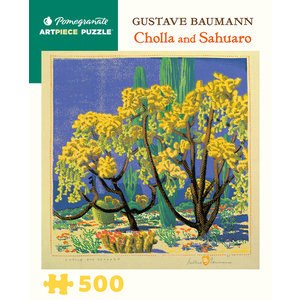 Pomegranate Pomegranate - 500 Piece Puzzle: Cholla and Sahuaro - Gustave Baumann