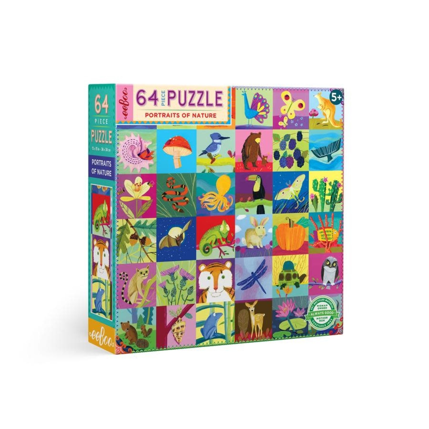 eeBoo eeBoo Puzzle: Portraits of Nature 64 pc