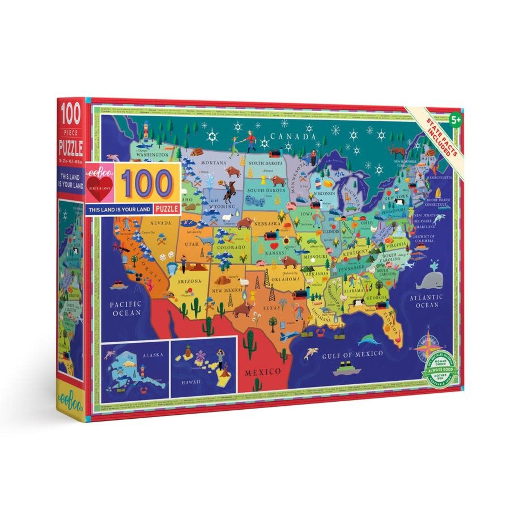 eeBoo eeBoo Puzzle: This Land is Your Land 100 pc