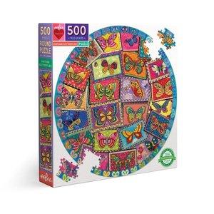 eeBoo eeBoo Puzzle:  Vintage Butterflies 500 pc Round