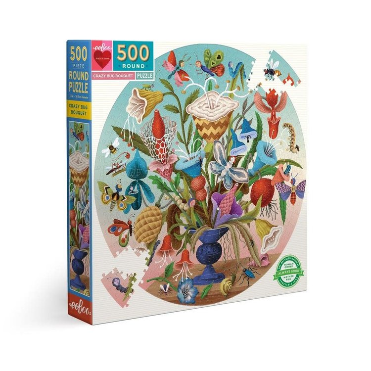 eeBoo eeBoo Puzzle:  Crazy Bug Bouquet 500 pc Round