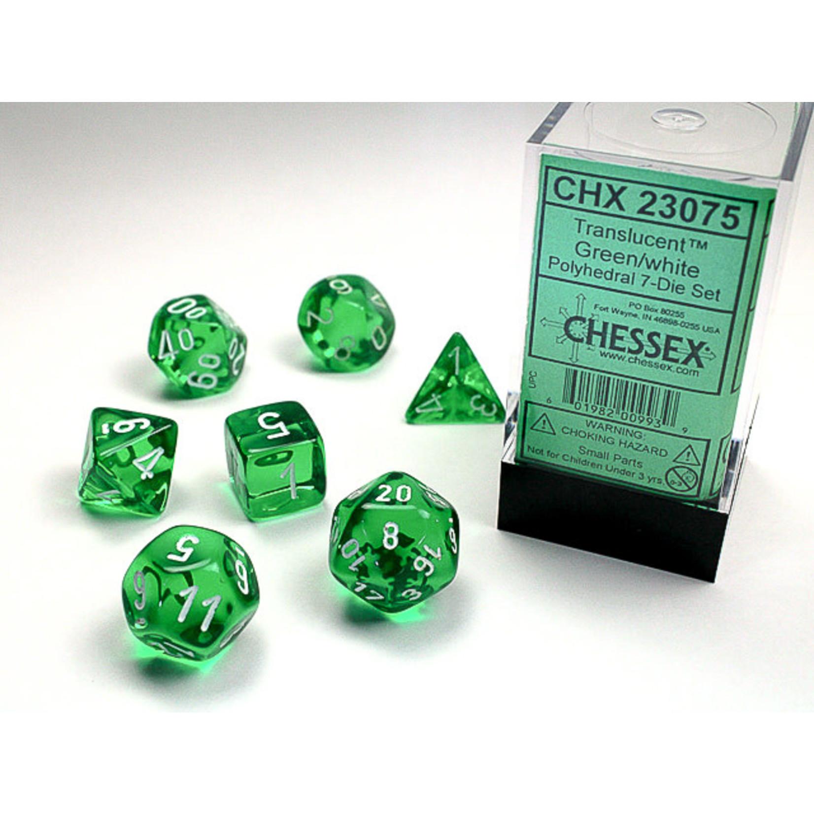 Chessex Chessex 7-Set Dice: Translucent Green/White 23075