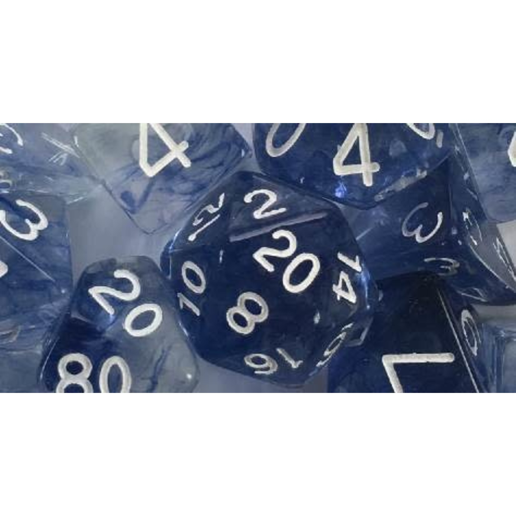 Roll 4 Initiative Polyhedral Dice: Diffusion Blue Ink White- Set of 7