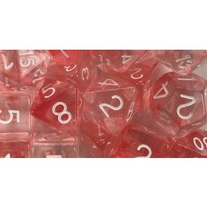Roll 4 Initiative Polyhedral Dice: Diffusion Cherry White- Set of 7