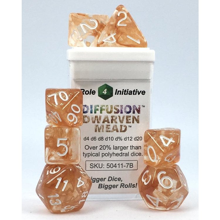 Roll 4 Initiative Polyhedral Dice: Diffusion Dwarven Mead- Set of 7