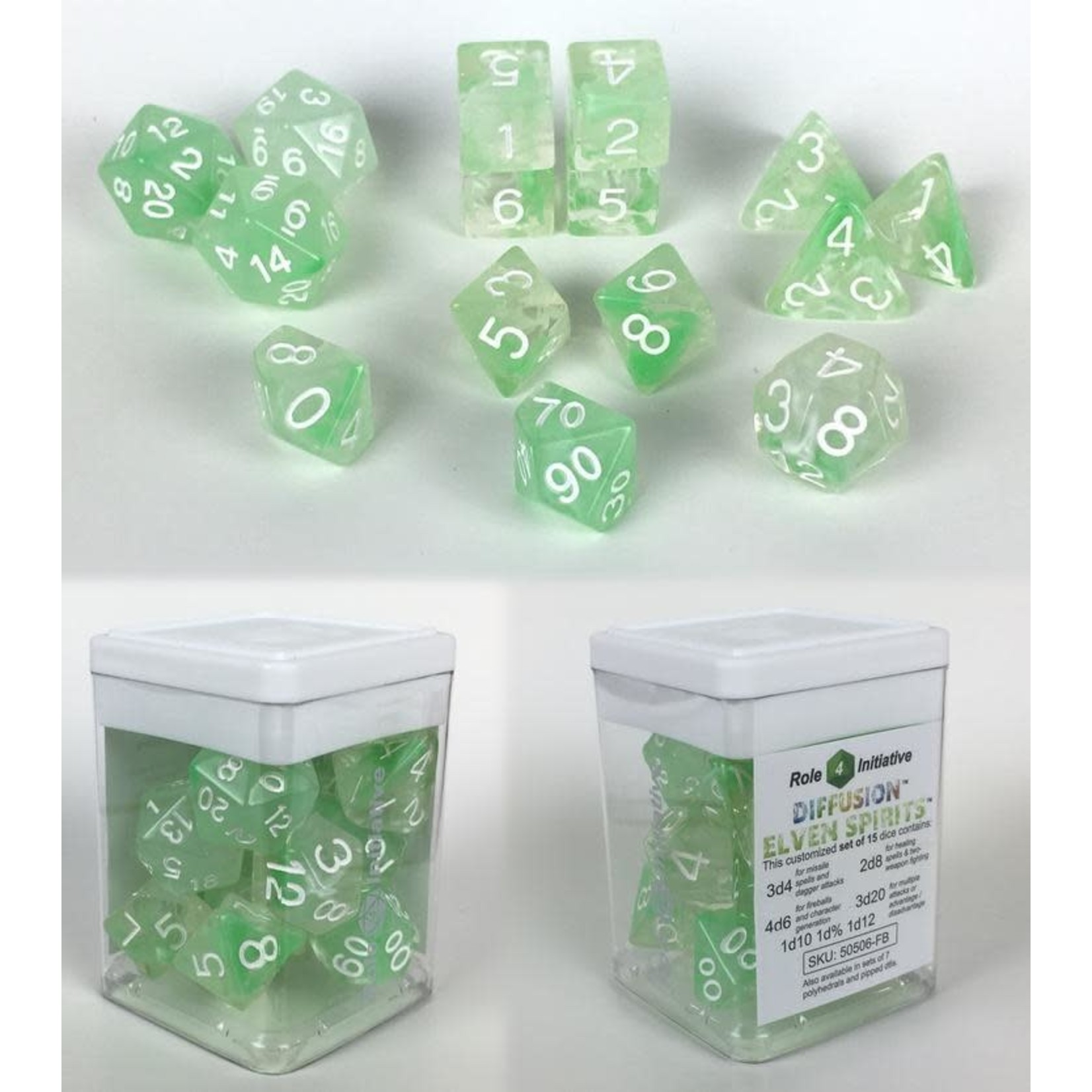 Roll 4 Initiative Polyhedral Dice: Diffusion Elven Spirits - Set of 15