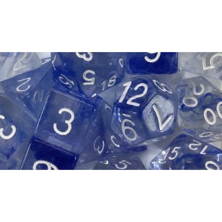 Roll 4 Initiative Polyhedral Dice: Diffusion Sapphire White- Set of 7