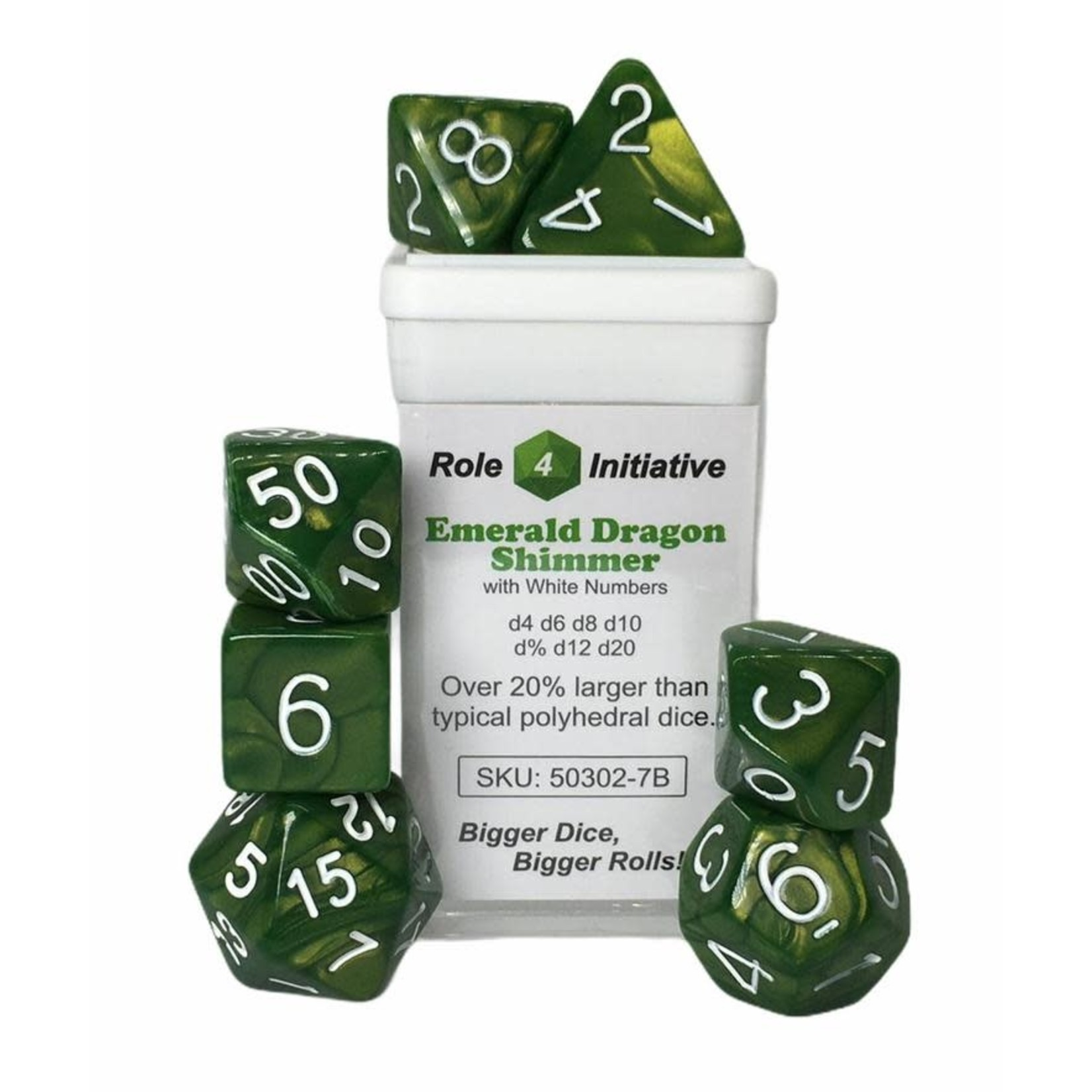Roll 4 Initiative Polyhedral Dice: Emerald Dragon Shimmer - Set of 7