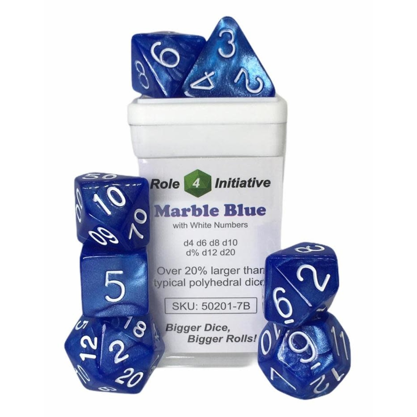 Roll 4 Initiative Polyhedral Dice: Marble Blue w/ White- Set of 7