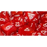 Roll 4 Initiative Polyhedral Dice: Marble Red w/ White- Set of 7