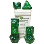 Roll 4 Initiative Polyhedral Dice: Translucent Dark Green w/ Light Blue - Set of 7