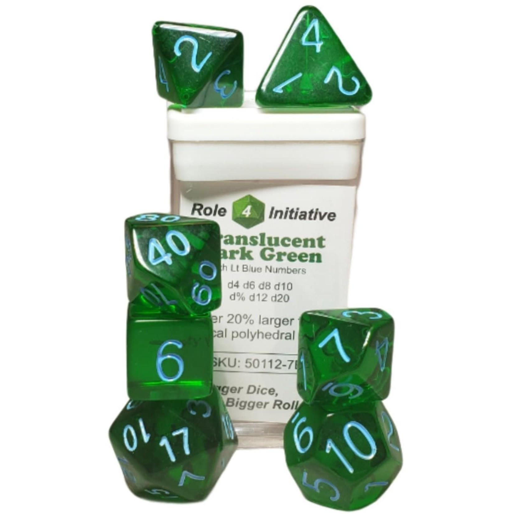 Roll 4 Initiative Polyhedral Dice: Translucent Dark Green w/ Light Blue - Set of 7