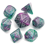 Foam Brain FB XL Cybernated Pink/Green RPG Dice Set