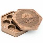 Foam Brain Walnut Hexagon Wooden Dice Box w/ Skull