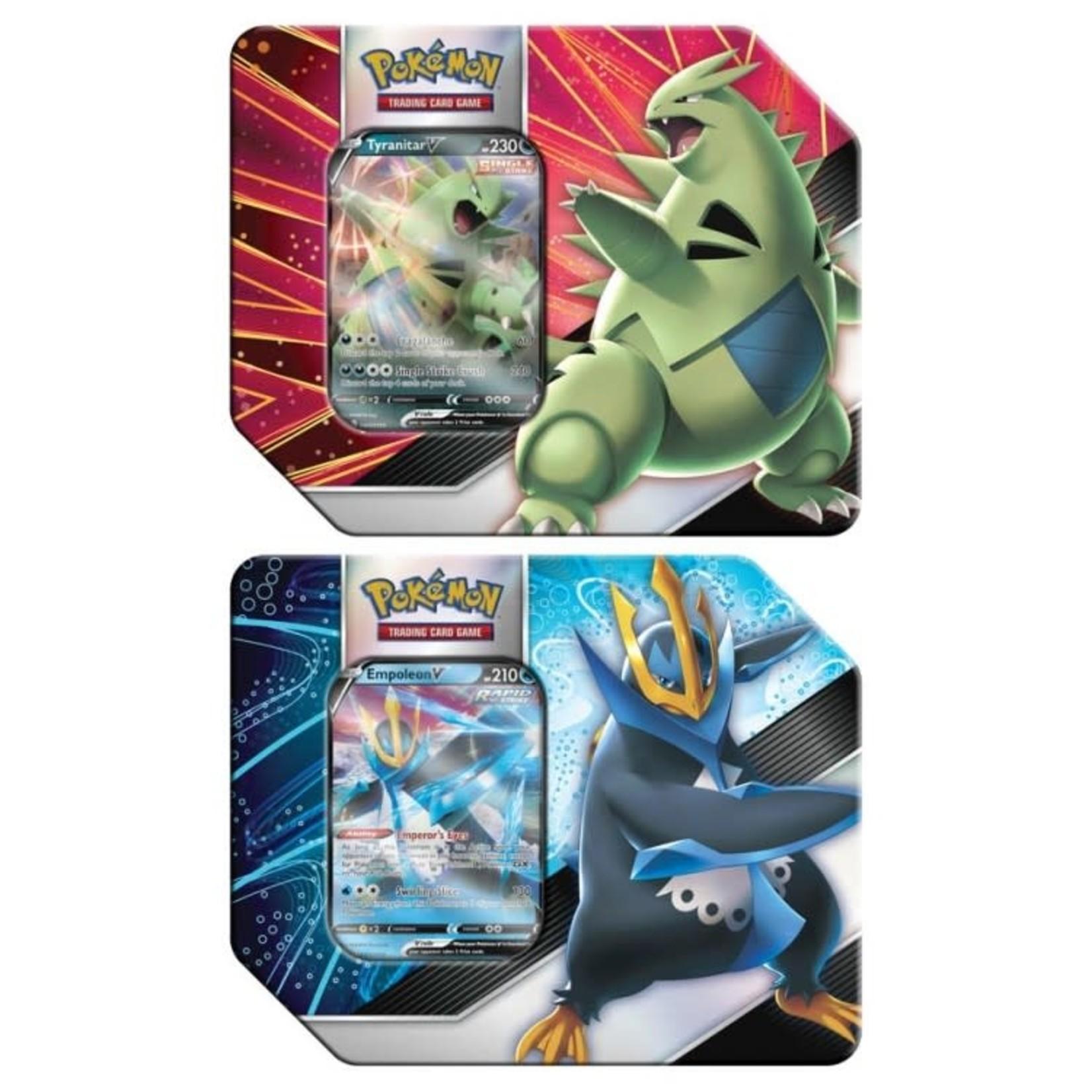 Pokemon International Pokémon TCG: V Strikers Tin (Empoleon V or Tyranitar V)