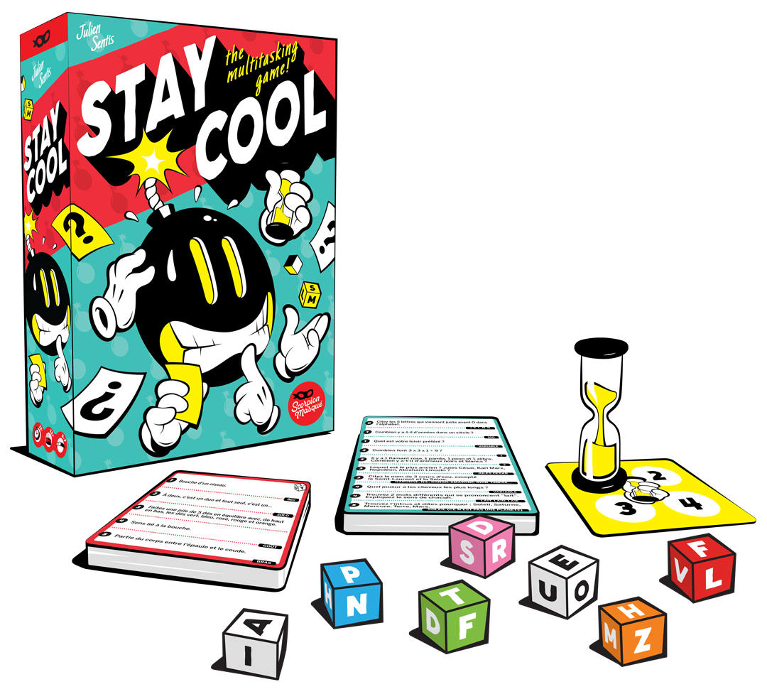 Stay Cool's components include dice, a snad timer, and dozens of cards with all-too-easy questions on them.