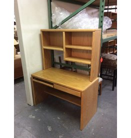 2 drawer desk /  oak w hutch