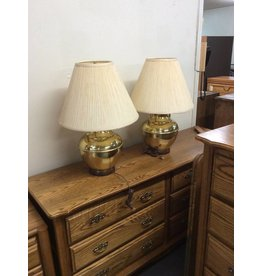 Pair lamps / yellow n gold
