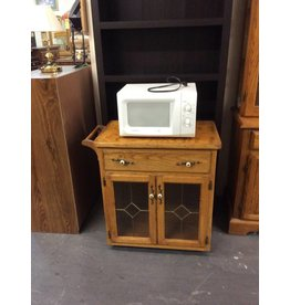 Microwave stand /  oak w 2 doors glass