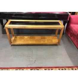 Sofa table / oak n dark glass
