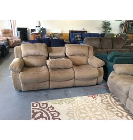 Dual reclining sofa / green tweed w back massage