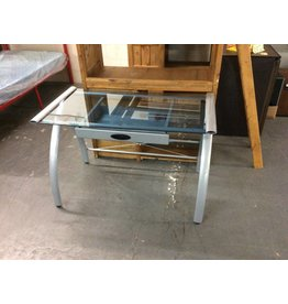 Single drawer desk / glass n metal