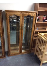 5' double door curio / oak n glass