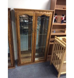 5' double door curio / oak n glass