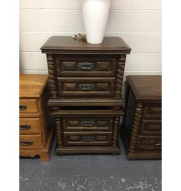 Pair of nightstands / 2 drawer oakdark oak